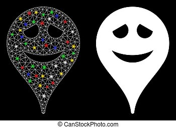Flare Mesh Carcass Embarrassment Smiley Map Marker Icon with Flare Spots