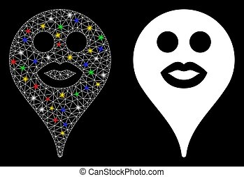 Flare Mesh Carcass Kiss Smiley Map Marker Icon with Flare Spots