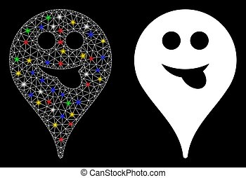 Flare Mesh Carcass Tongue Smiley Map Marker Icon with Flare Spots