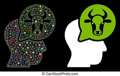 Flare Mesh Network Cattle Thinking Person Icon with Flash Spots