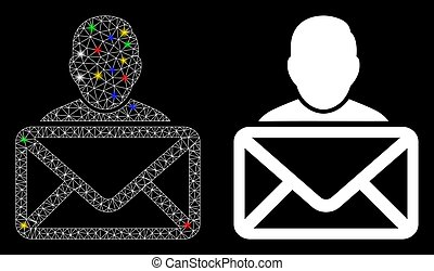Glowing mesh mail recipient icon with glare effect. Abstract illuminated model of mail recipient. Shiny wire carcass triangular mesh mail recipient icon. Vector abstraction on a black background.