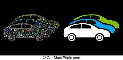 Flare Mesh Network Traffic Cars Icon with Flare Spots - ...