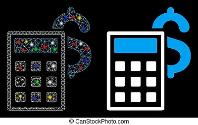 Flare Mesh Wire Frame Business Calculator Icon with Flare ...