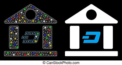 Flare Mesh Wire Frame Dash Bank Building Icon with Flare Spots