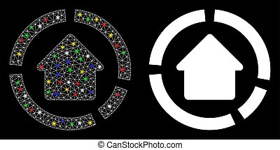 Flare Mesh Wire Frame House Diagram Icon with Flare Spots