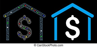Flare Mesh Wire Frame Money Garage Icon with Light Spots