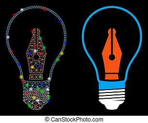 Flare Mesh Wire Frame News Maker Bulb Icon with Flare Spots...