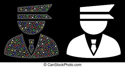 Flare Mesh Wire Frame Police Officer Icon with Flare Spots...