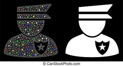 Flare Mesh Wire Frame Policeman Icon with Flare Spots - ...
