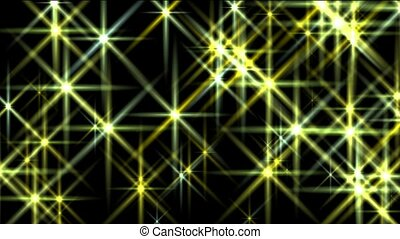 flare yellow stars, disco ray light, Christmas background, fiber, Stage, Hollywood