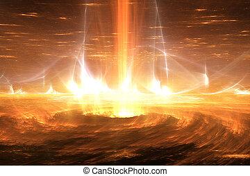 flares., sonnenkollektoren, leuchtsignale, sturm, plasma, sonne