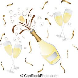 flasche, glas, champagner