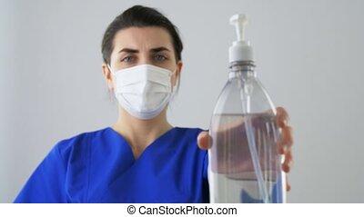 flasche, krankenschwester, oder, ausstellung, flüssiglkeit, ...