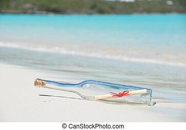 flasche, mit, a, nachricht, strand