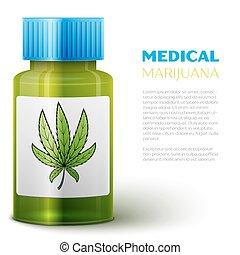 flasche, mit, medizin, marihuana