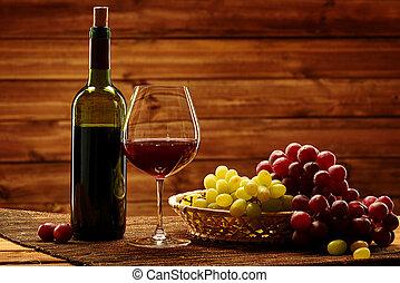 flasche rotweins, glas, und, traube, in, korb, in, hölzern, inneneinrichtung