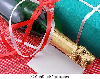 flasche, von, a, champagner, und, grün, geschenk boxt