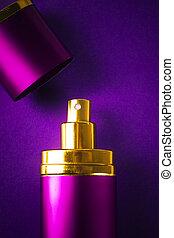 flasche, von, frau, parfüm, auf, lila, hintergrund, mit, kopieren platz