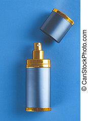 flasche, von, mann, parfüm, auf, blauer hintergrund, mit, kopieren platz
