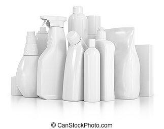 flaschen, freigestellt, whi, chemische , reinigungsmittel,...