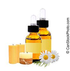 flaschen, mit, substanz, oel, kerzen, und, chamomiles,...