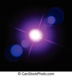 flash., étoile, flamme, effet, lentille, bokeh, éclairage effectue