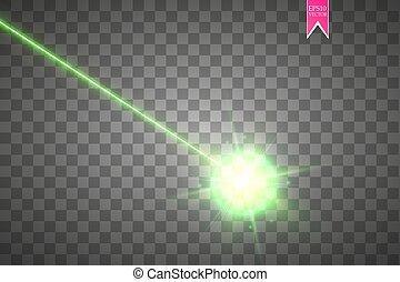 flash., レーザー, illustration., 梁, ライト, 抽象的, 隔離された, バックグラウンド。, ベクトル, 緑, 光線, beam., セキュリティー, 白熱, 透明, ターゲット