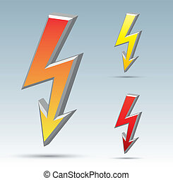 Flash arrow - Isolated vector flash sign collection with...