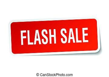 flash, autocollant, carrée, vente, blanc