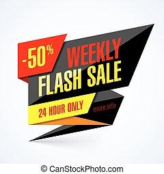 flash, bannière, vente, hebdomadaire