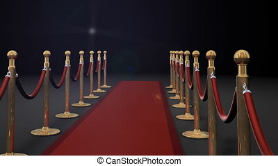 1080p HD Video of camera panning forward with camera flashes on red carpet and dividers.
