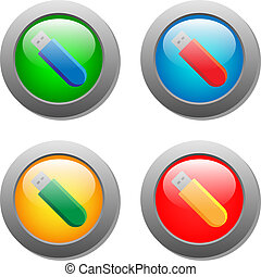 Flash card icon set on glass buttons