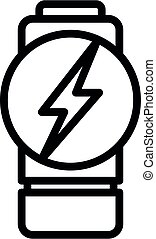 Flash charge battery icon, outline style