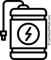 Flash charge power bank icon, outline style