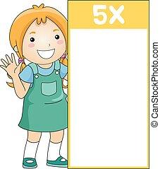 flash, cinq, multiplication, table, girl, carte, gosse