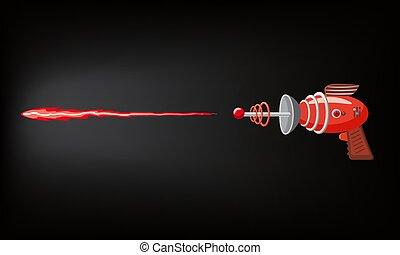 flash, concept, coup, bleu, illustration, blaster, jeu, silhouette, gan, vecteur, conception, sombre, laser, jeux, rayon, dessin animé, apps, rouges