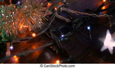 flash., dookoła, flesze, garlands., przenosić, object., wielobarwny, aparat fotograficzny, rok, nowy