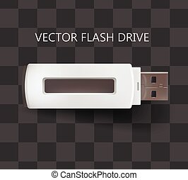Flash drive USB in white color. Vector isolated on transparent background