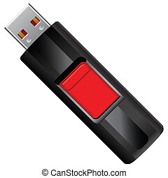 Flash drive with retractable connection node. Vector...