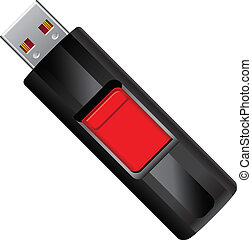 Flash drive with retractable connection node. Vector illustration.
