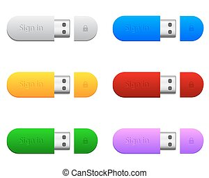flash drives in different colors
