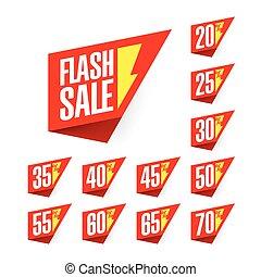 flash, escompte, étiquettes, vente