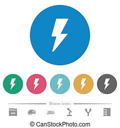 Flash flat round icons
