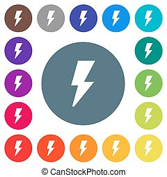 Flash flat white icons on round color backgrounds