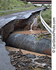 Flash flood hazard - Hazardous road washed out after flash ...