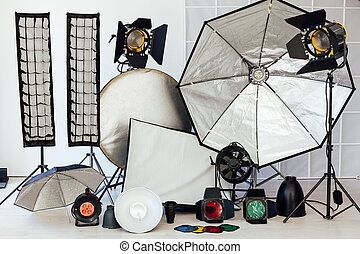 flash, fond, équipement, accessoires, photo, photographe, blanc, studio