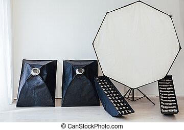 flash, fond, équipement, photo, photographe, blanc, studio