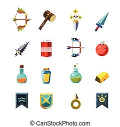 Flash Game Inventory Set Of Simple Flat Isolated Icons On...