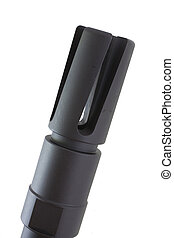 Flash hider - Device that goes on a modern rifle to hide...
