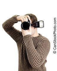 flash., isolerat, kamera, white., holdingen, photojournalist